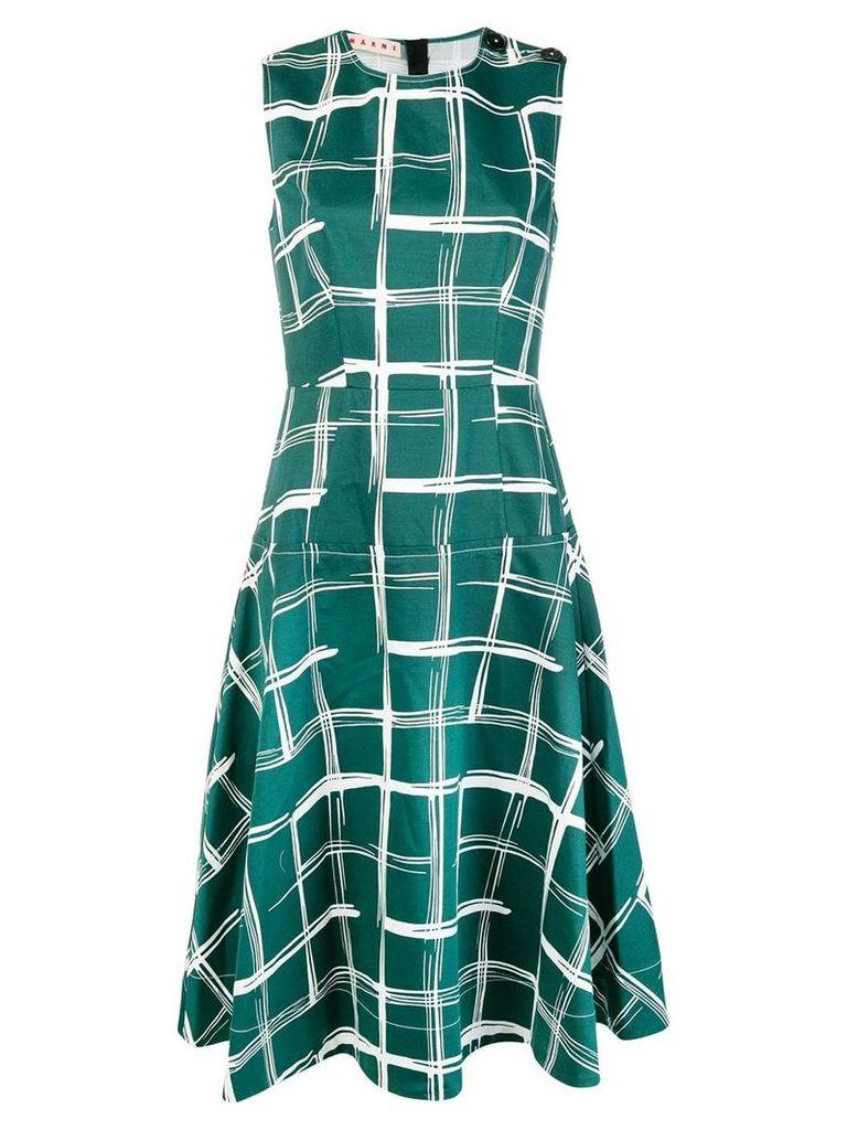 Marni check A-line dress - Green