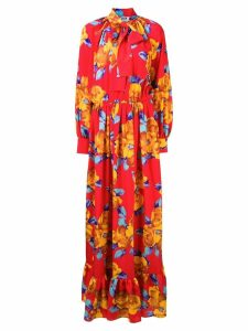 MSGM floral long dress - Red