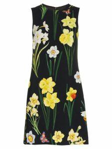 Dolce & Gabbana Floral-printed silk-blend dress - Black