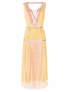 Bottega Veneta lace block midi dress - Yellow
