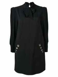 Elisabetta Franchi pussy bow shift dress - Black
