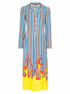 Prada Flame Printed Poplin Midi Shirt Dress - Multicolour
