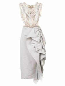 Marchesa embellished chest panel asymmetric gown - Grey