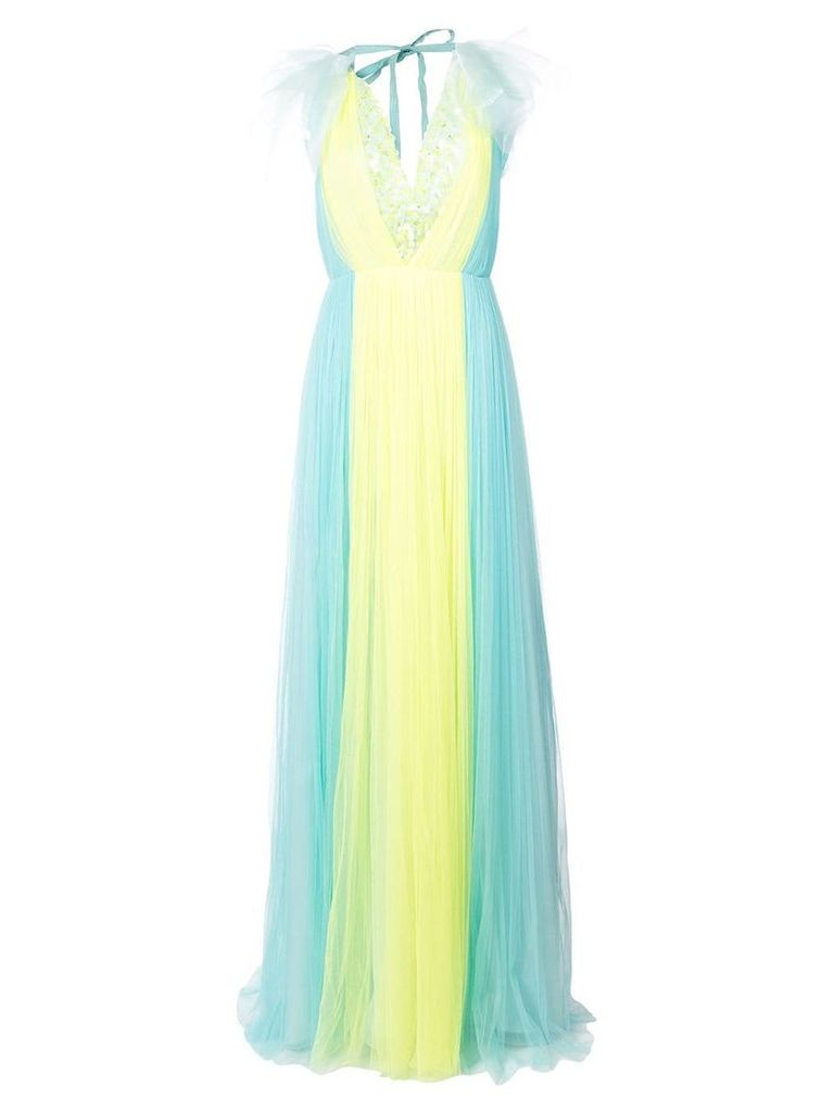 Delpozo bicolour ruffle sleeve gown - Blue
