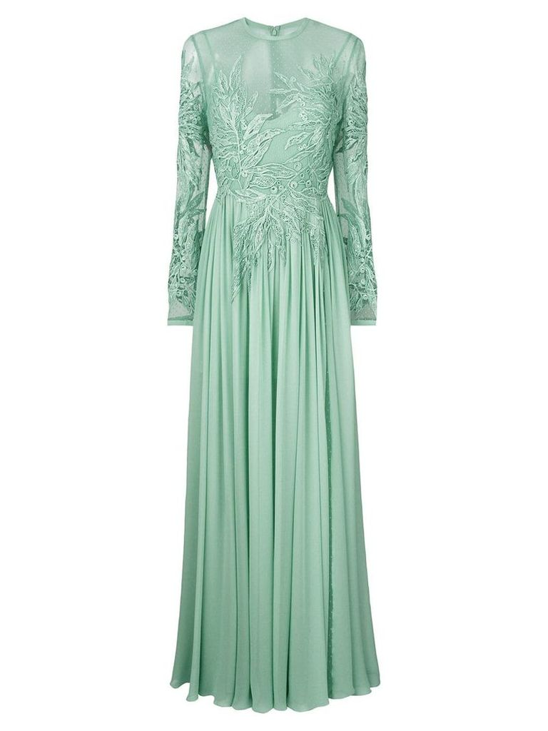 Elie Saab long-sleeve embroidered dress - Green