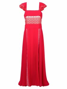 Philosophy Di Lorenzo Serafini pleated geometric patterned gown - Red