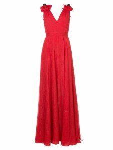 Prabal Gurung deep V-neck gown - Red