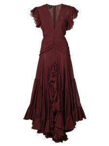 Giambattista Valli v-neck ruffle dress - Red