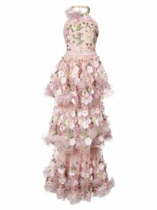 Marchesa Notte floral-appliquéd tiered ruffled gown - Pink
