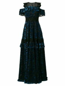 Talbot Runhof lace embellished gown - Blue