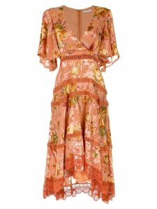 Martha Medeiros floral midi dress - Yellow