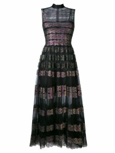 Christopher Kane long lace foil and tulle dress - Black