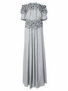 Zac Zac Posen Maia floral embroidered striped gown - Black