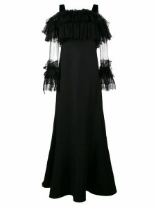 Alberta Ferretti Floor Length Gown with Lace Sleeves - Black