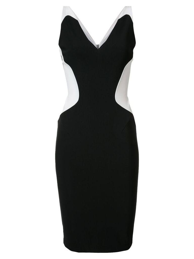 Mugler contrast sweetheart neck dress - Black
