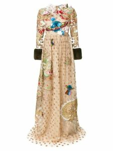 Gucci embroidered polka dot tulle gown - Neutrals