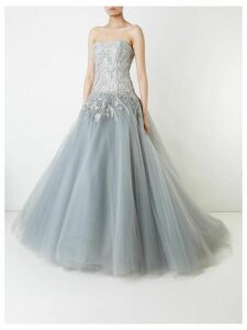 Marchesa strapless tulle ball gown - Grey