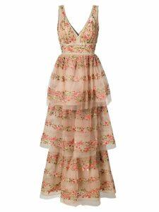 Marchesa Notte layered floral dress - NEUTRALS