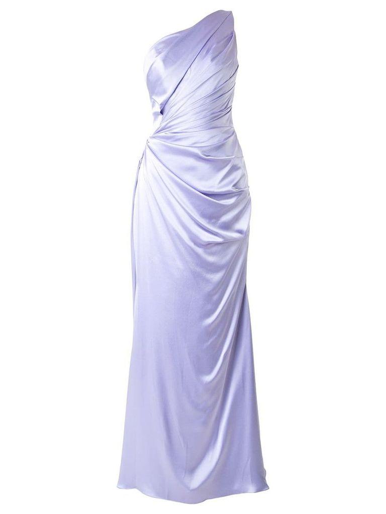 Romona Keveza one shoulder liquid satin gown - Pink