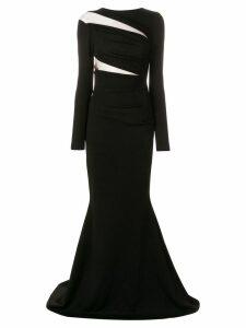 Talbot Runhof sheer panel gown - Black