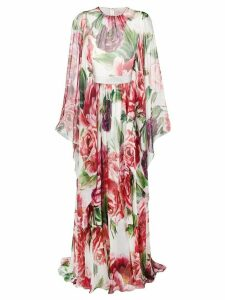 Dolce & Gabbana peony-print silk dress - White