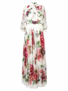 Dolce & Gabbana rose print maxi dress - White