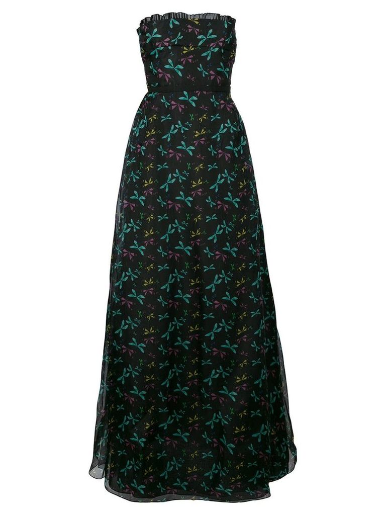 Rochas printed strapless dress - Black