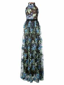 Marchesa Notte embroidered hydrangea gown - Black