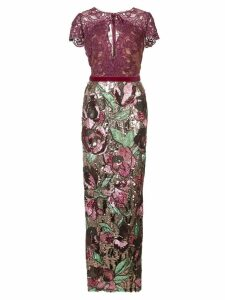 Marchesa Notte sequined lace column gown - Pink