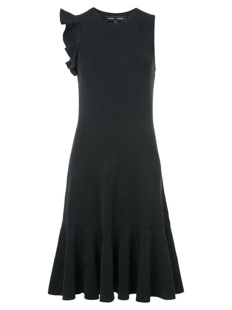 Proenza Schouler Sleeveless One Shoulder Ruffle Dress - Black