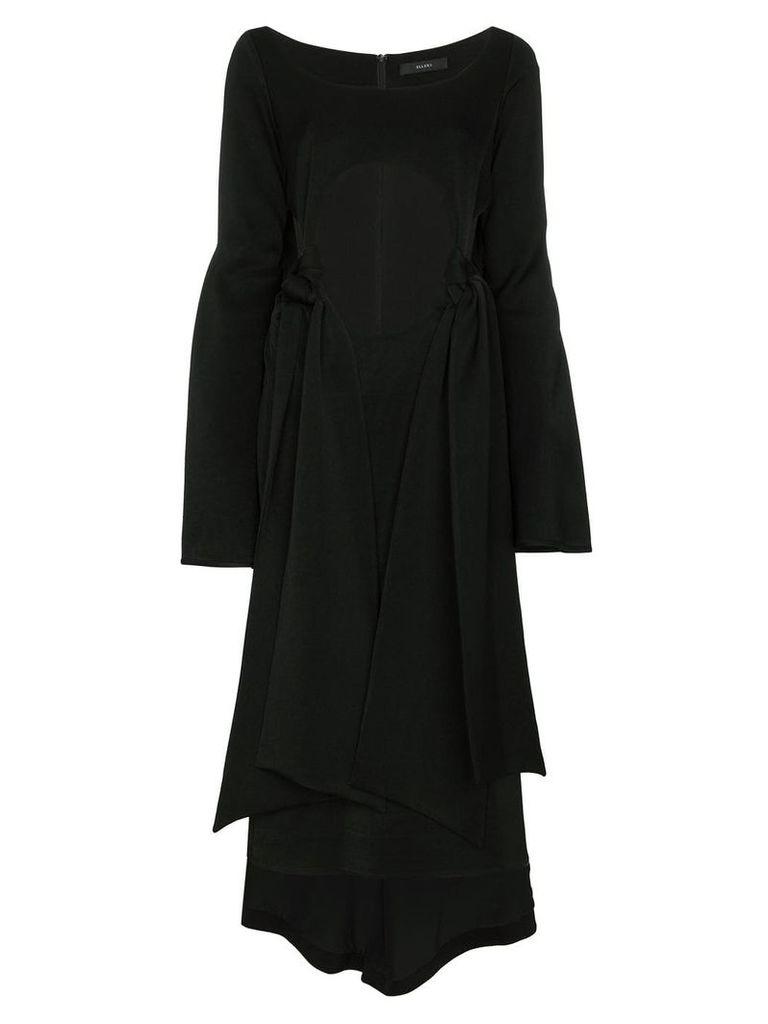 Ellery Silk Ultraviolet Tie Front Dress - Black