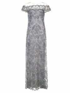 Tadashi Shoji floral embroidered off-the-shoulder gown - Grey