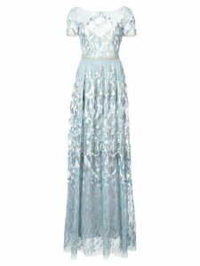 Marchesa Notte embroidered plunge back gown - Blue