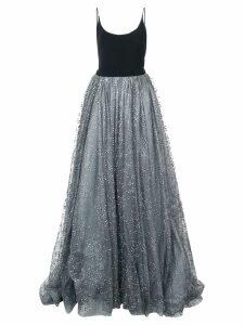 Christian Siriano glitter tulle detail dress - Black