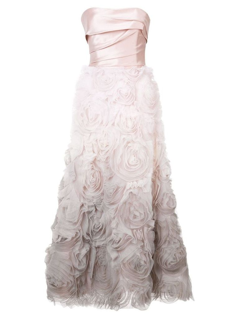 Marchesa Notte strapless ombré gown - Pink