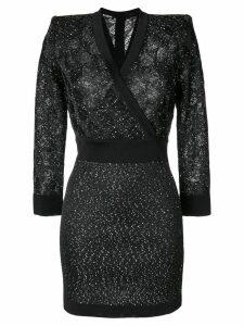 Balmain sequin-embellished knit wrap dress - Black
