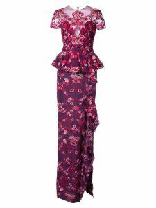 Marchesa Notte peplum floral gown - Pink