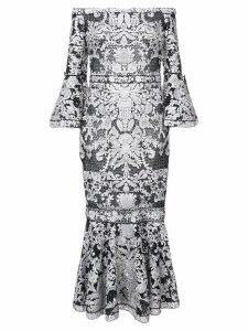 Marchesa Notte lace-embroidered midi dress - Black