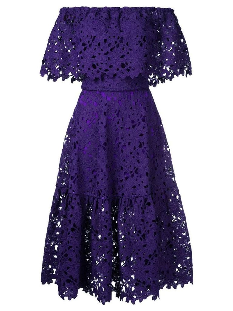 Bambah lace-embroidered flared dress - Purple