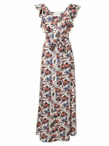 La Doublej ruffle v-neck print dress - Multicolour