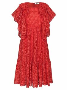 MSGM Ruffled Broderie Anglaise Midi Dress - Red