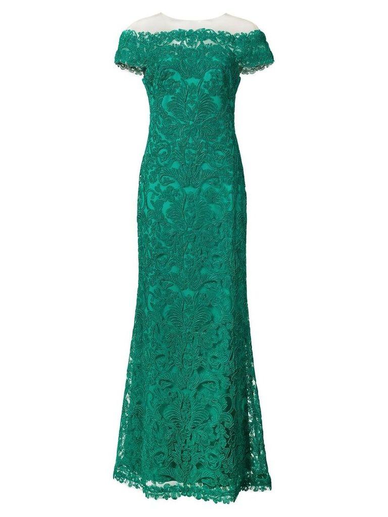 Tadashi Shoji lace off shoulder gown - Green