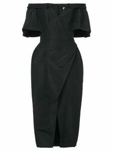 Carolina Herrera off shoulder ruched dress - Black