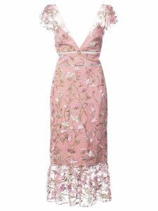 Marchesa Notte floral-embroidered midi dress - Pink