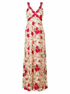 Alice+Olivia floral embroidered gown - Neutrals
