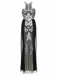 Marchesa Notte pleated sequined column gown - Black