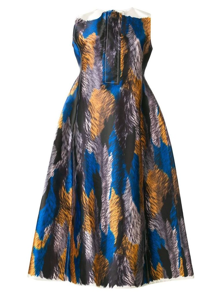 Marni Mikado printed satin dress - Blue
