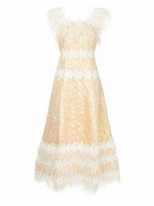 Huishan Zhang feather embellished dress - Metallic