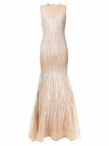 Jean Fares Couture sunray beaded mermaid gown - Neutrals