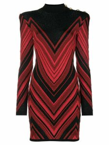 Balmain Chevron dress - Red